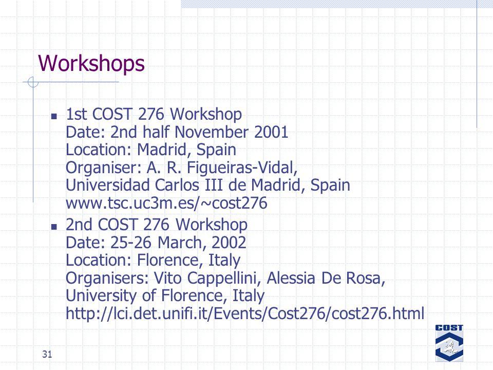 31 Workshops 1st COST 276 Workshop Date: 2nd half November 2001 Location: Madrid, Spain Organiser: A.