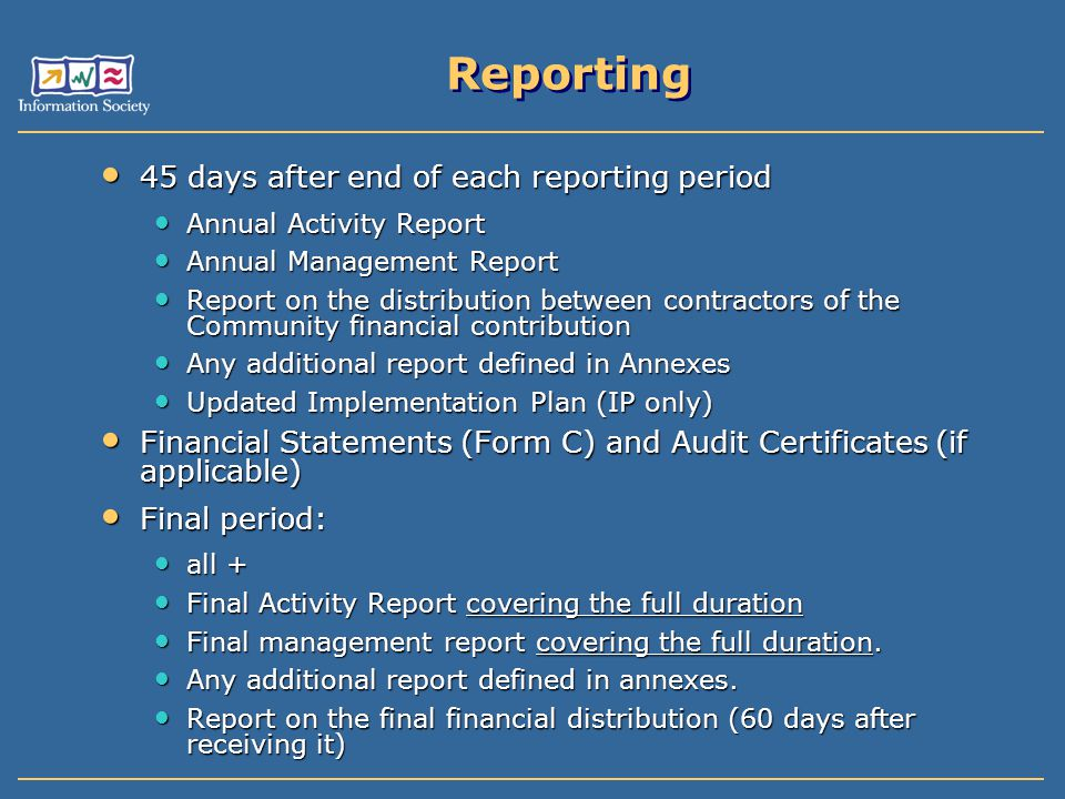 Reporting 45 days after end of each reporting period 45 days after end of each reporting period Annual Activity Report Annual Activity Report Annual M