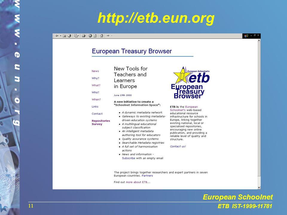European Schoolnet ETB IST-1999-11781 11 http://etb.eun.org