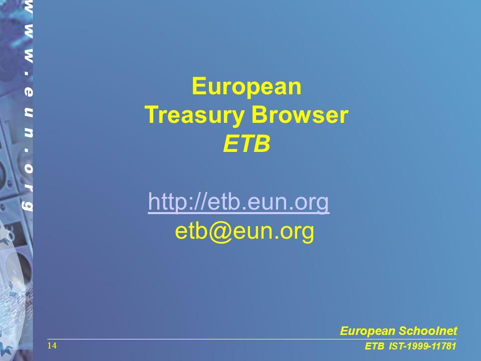 European Schoolnet ETB IST-1999-11781 14 European Treasury Browser ETB http://etb.eun.org etb@eun.org