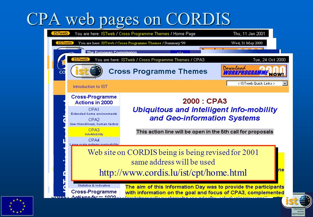 CPA web pages on CORDIS Web site on CORDIS being is being revised for 2001 same address will be used