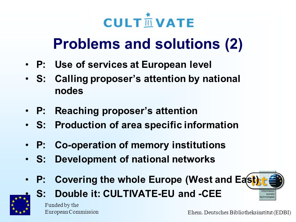 Funded by the European Commission Ehem. Deutsches Bibliotheksinstitut (EDBI) Problems and solutions (2) P:Use of services at European level S:Calling