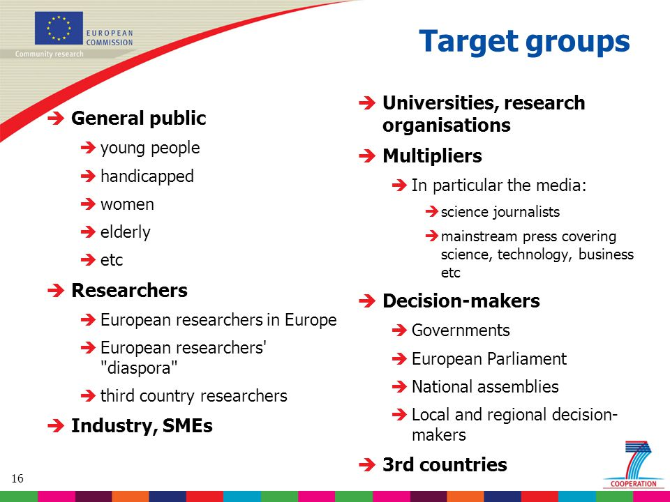 16 Target groups  General public  young people  handicapped  women  elderly  etc  Researchers  European researchers in Europe  European researchers diaspora  third country researchers  Industry, SMEs  Universities, research organisations  Multipliers  In particular the media:  science journalists  mainstream press covering science, technology, business etc  Decision-makers  Governments  European Parliament  National assemblies  Local and regional decision- makers  3rd countries