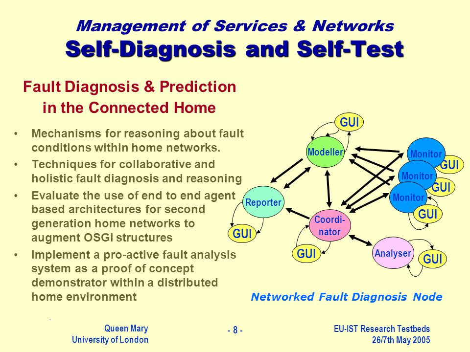 Queen Mary University of London EU-IST Research Testbeds 26/7th May 2005 Self-Diagnosis and Self-Test Management of Services & Networks Self-Diagnosis and Self-Test Fault Diagnosis & Prediction in the Connected Home Mechanisms for reasoning about fault conditions within home networks.