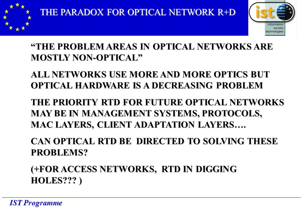 IST Programme THE PROBLEM AREAS IN OPTICAL NETWORKS ARE MOSTLY NON-OPTICAL ALL NETWORKS USE MORE AND MORE OPTICS BUT OPTICAL HARDWARE IS A DECREASING PROBLEM THE PRIORITY RTD FOR FUTURE OPTICAL NETWORKS MAY BE IN MANAGEMENT SYSTEMS, PROTOCOLS, MAC LAYERS, CLIENT ADAPTATION LAYERS….