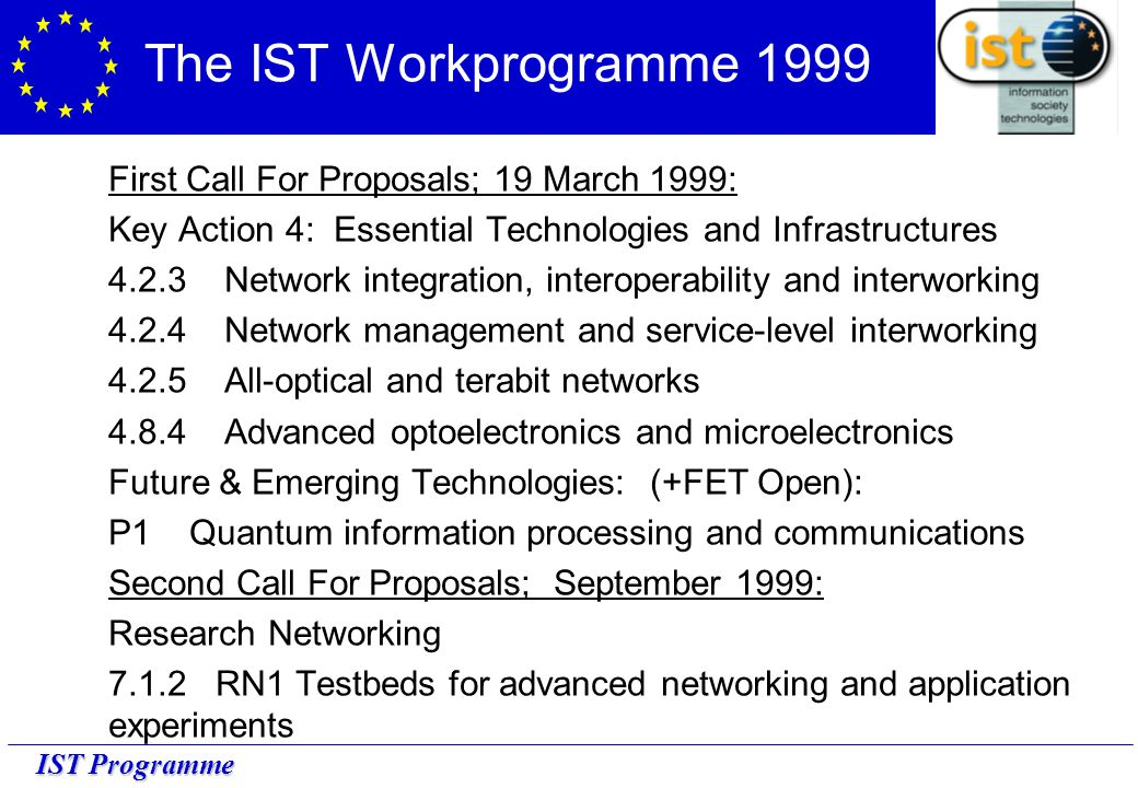 IST Programme The IST Workprogramme 1999 First Call For Proposals; 19 March 1999: Key Action 4: Essential Technologies and Infrastructures 4.2.3 Network integration, interoperability and interworking 4.2.4 Network management and service-level interworking 4.2.5 All-optical and terabit networks 4.8.4 Advanced optoelectronics and microelectronics Future & Emerging Technologies: (+FET Open): P1 Quantum information processing and communications Second Call For Proposals; September 1999: Research Networking 7.1.2 RN1 Testbeds for advanced networking and application experiments