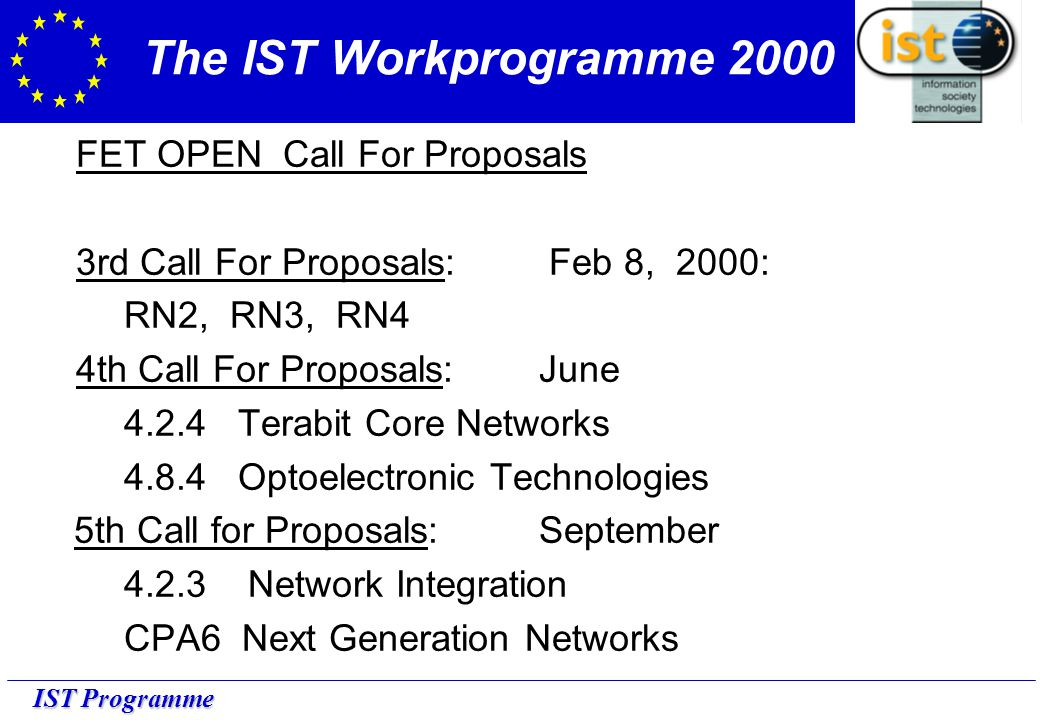 IST Programme The IST Workprogramme 2000 FET OPEN Call For Proposals 3rd Call For Proposals: Feb 8, 2000: RN2, RN3, RN4 4th Call For Proposals: June 4.2.4 Terabit Core Networks 4.8.4 Optoelectronic Technologies 5th Call for Proposals: September 4.2.3 Network Integration CPA6 Next Generation Networks