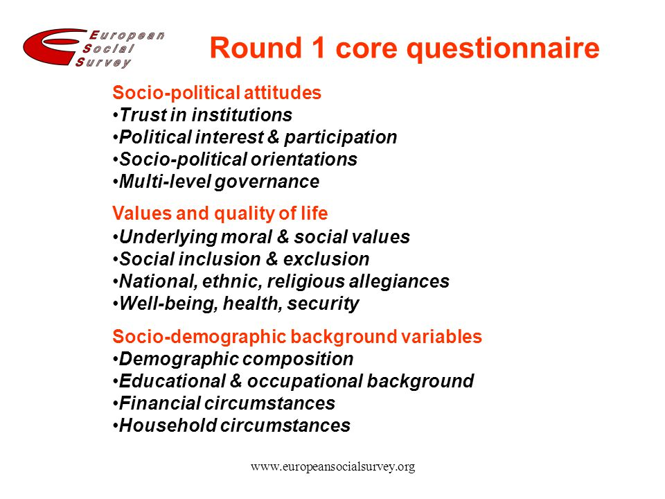 www.europeansocialsurvey.org Round 1 core questionnaire Socio-political attitudes Trust in institutions Political interest & participation Socio-polit