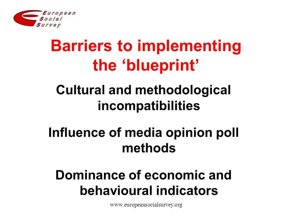 www.europeansocialsurvey.org Barriers to implementing the 'blueprint' Cultural and methodological incompatibilities Influence of media opinion poll me