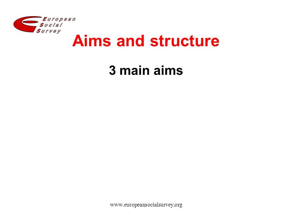 www.europeansocialsurvey.org Aims and structure 3 main aims