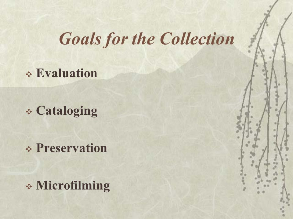Goals for the Collection  Evaluation  Cataloging  Preservation  Microfilming