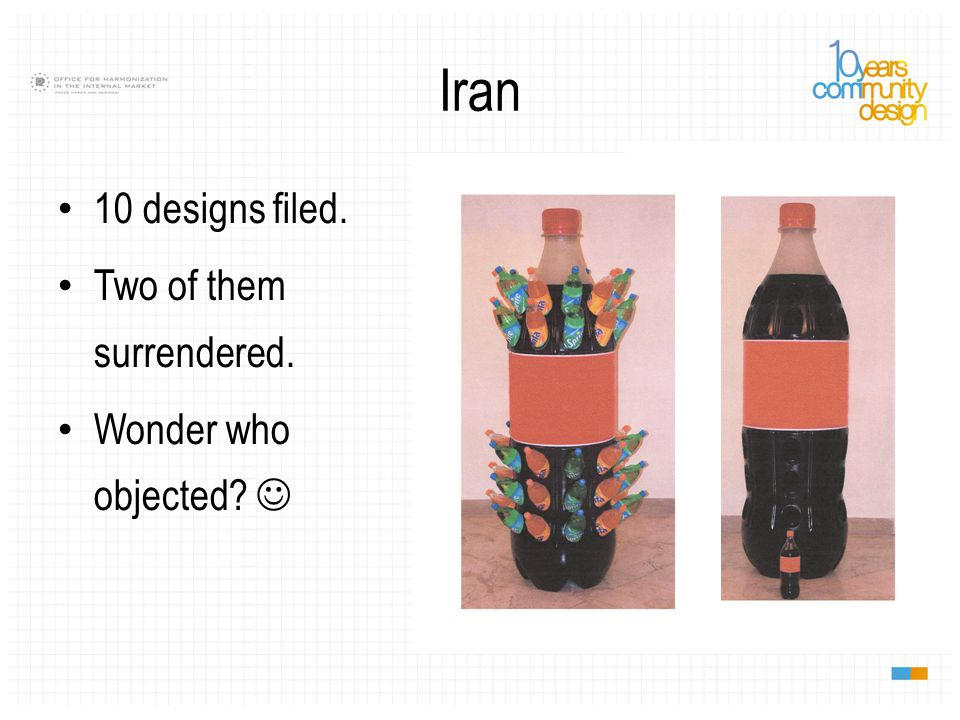 Iran 10 designs filed. Two of them surrendered. Wonder who objected