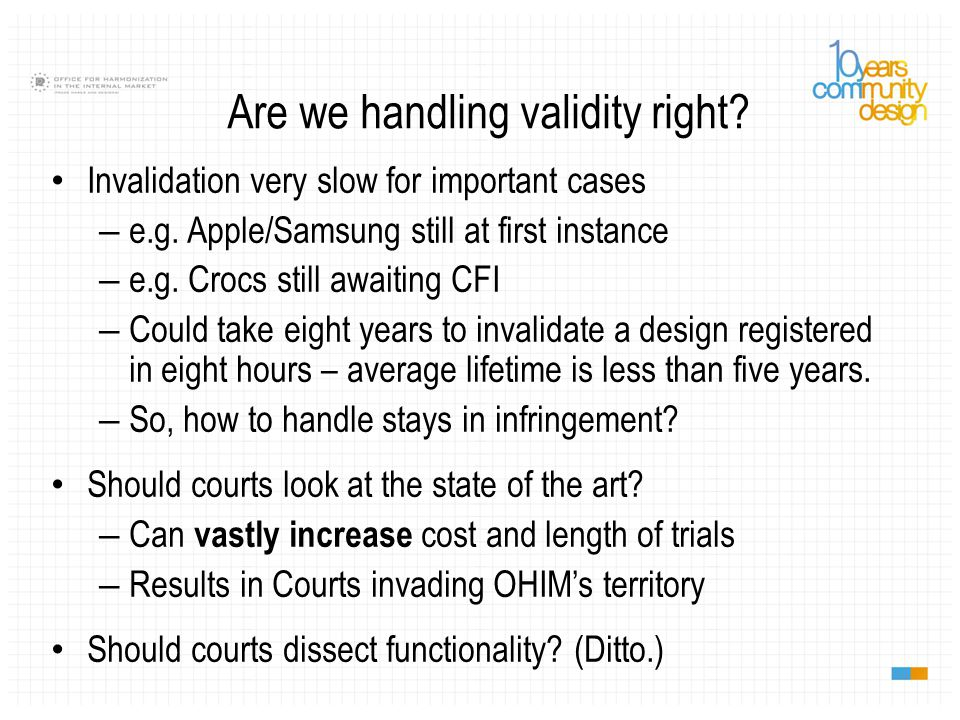 Are we handling validity right. Invalidation very slow for important cases – e.g.