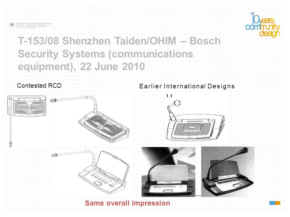 T-153/08 Shenzhen Taiden/OHIM – Bosch Security Systems (communications equipment), 22 June 2010 Contested RCD Same overall impression Earlier Internat
