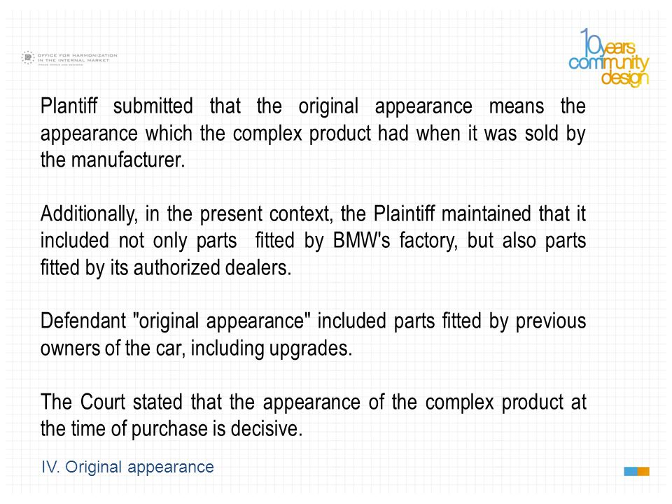 IV. Original appearance Plantiff submitted that the original appearance means the appearance which the complex product had when it was sold by the man