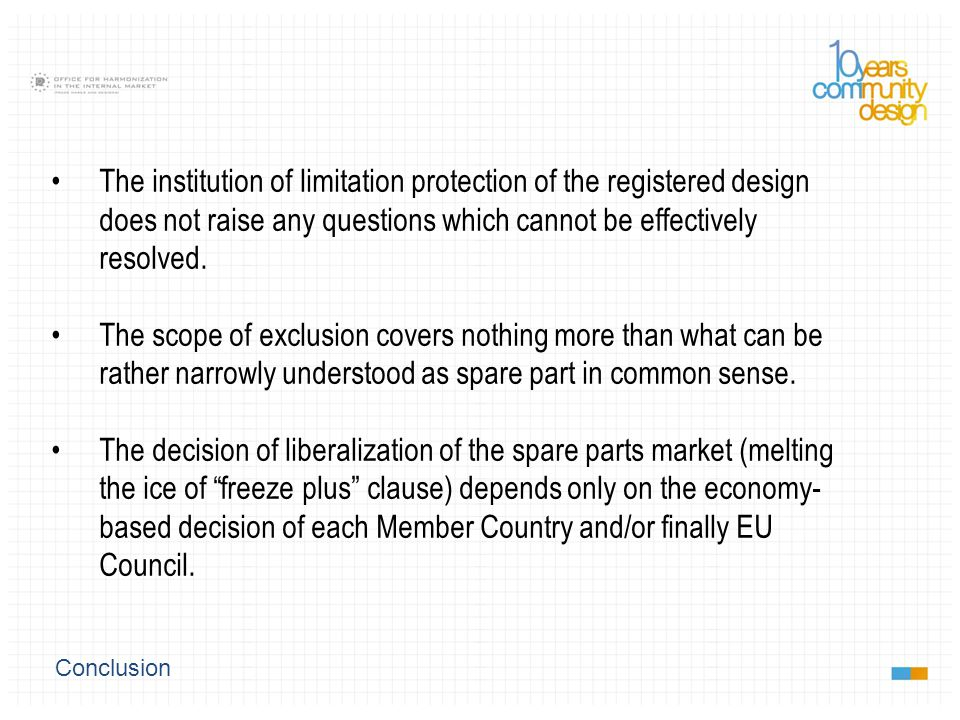 Conclusion The institution of limitation protection of the registered design does not raise any questions which cannot be effectively resolved.