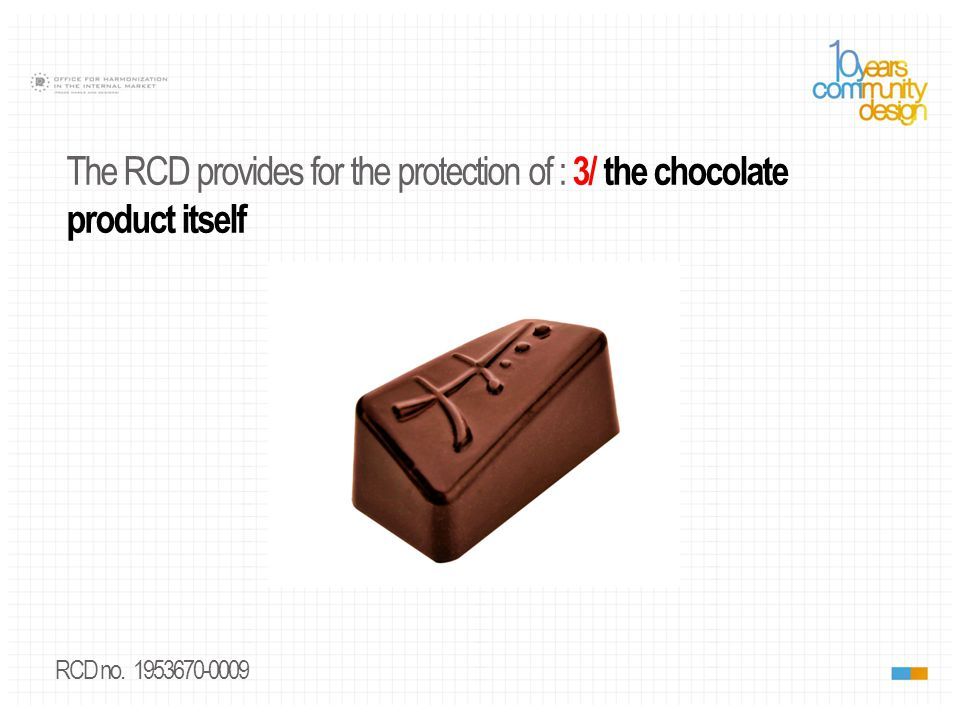 RCD no. 1953670-0009 The RCD provides for the protection of : 3/ the chocolate product itself
