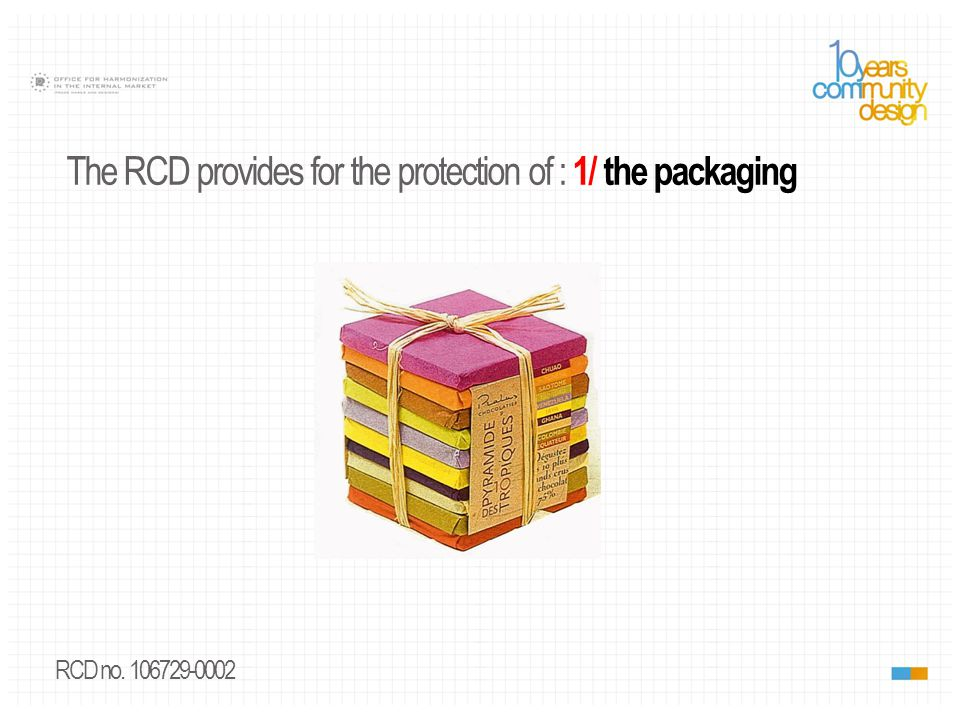 RCD no. 1224695-0001 The RCD provides for the protection of : 1/ the packaging