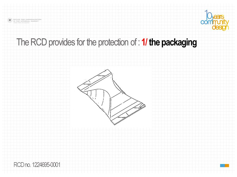 RCD no. 887492-0002 The RCD provides for the protection of : 1/ the packaging