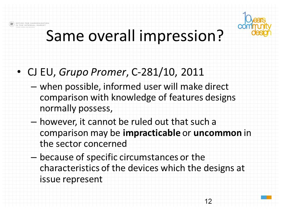 Same overall impression? CJ EU, Grupo Promer, C-281/10, 2011 – when possible, informed user will make direct comparison with knowledge of features des
