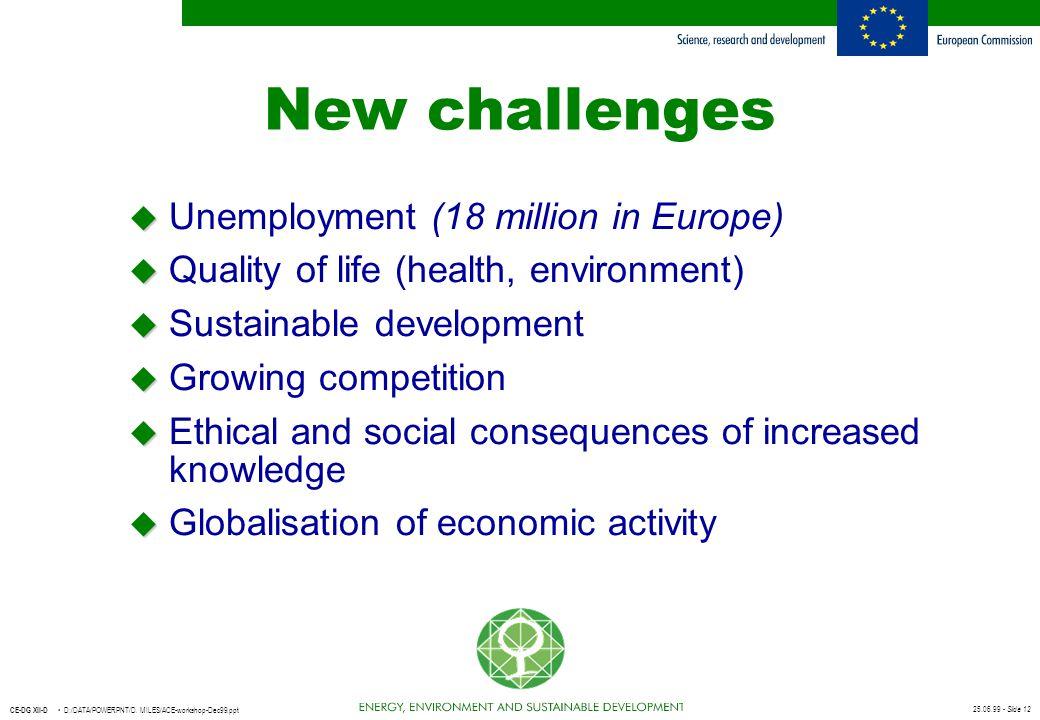 25.06.99 - Slide 12 CE-DG XII-D D:/DATA/POWERPNT/D. MILES/ACE-workshop-Dec99.ppt New challenges u u Unemployment (18 million in Europe) u u Quality of