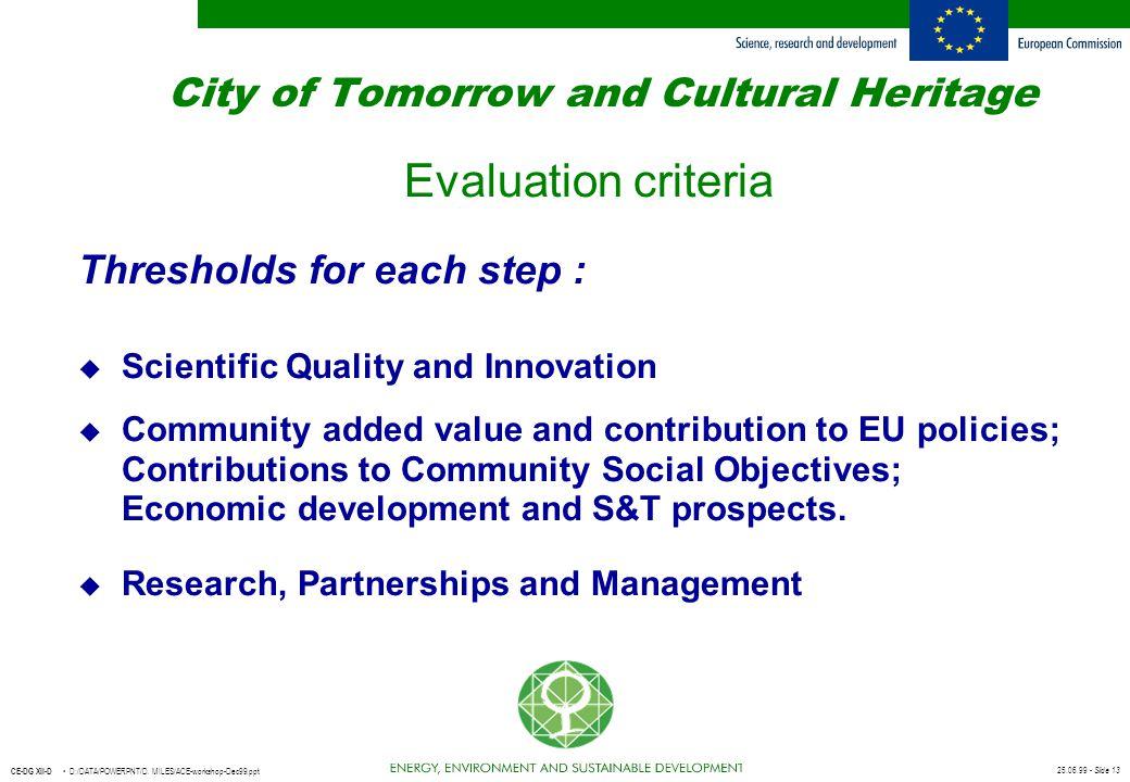 25.06.99 - Slide 13 CE-DG XII-D D:/DATA/POWERPNT/D. MILES/ACE-workshop-Dec99.ppt City of Tomorrow and Cultural Heritage Evaluation criteria Thresholds