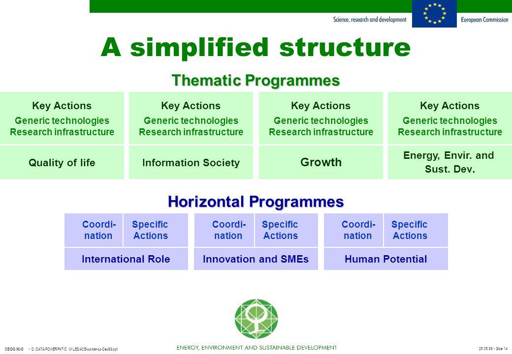 25.06.99 - Slide 14 CE-DG XII-D D:/DATA/POWERPNT/D. MILES/ACE-workshop-Dec99.ppt A simplified structure Key Actions Generic technologies Research infr