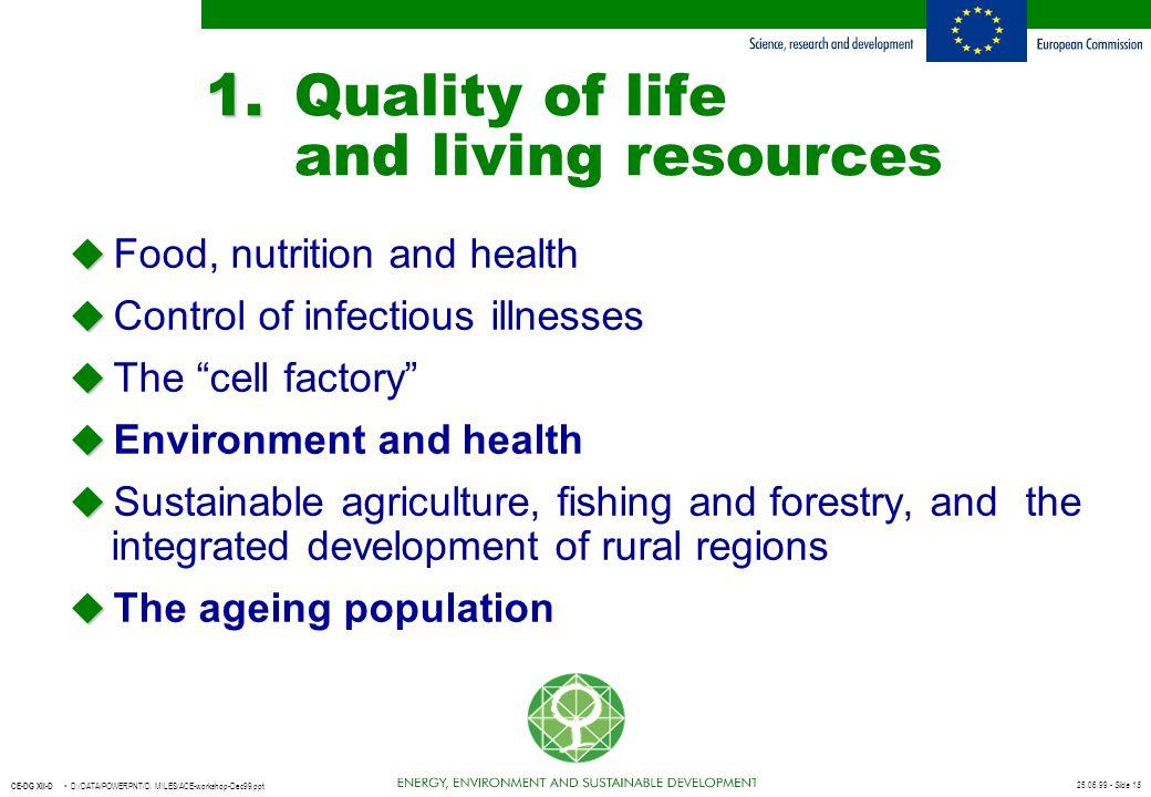 25.06.99 - Slide 15 CE-DG XII-D D:/DATA/POWERPNT/D. MILES/ACE-workshop-Dec99.ppt 1. 1.Quality of life and living resources u u Food, nutrition and hea