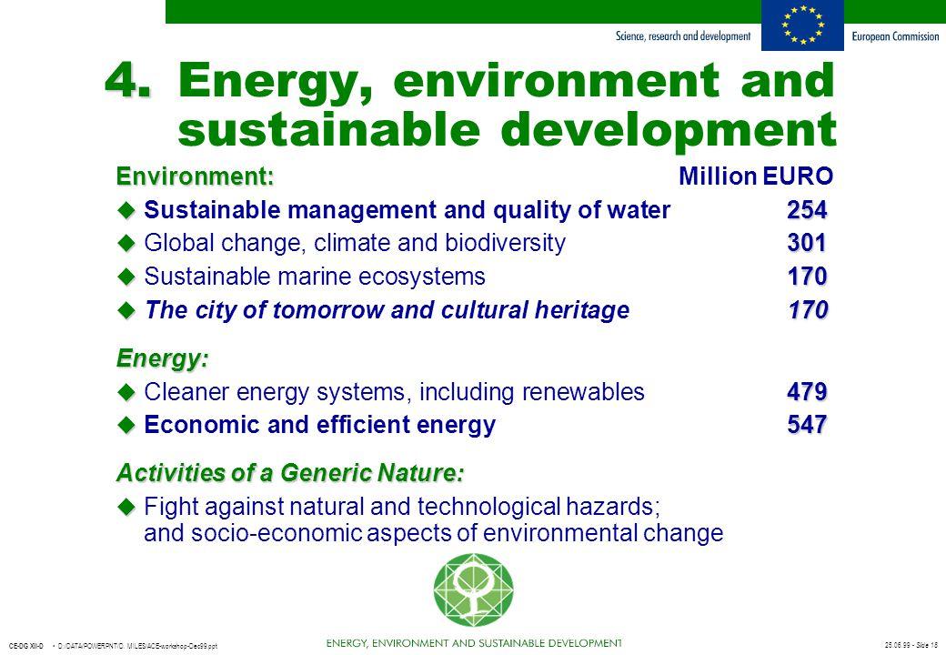 25.06.99 - Slide 18 CE-DG XII-D D:/DATA/POWERPNT/D. MILES/ACE-workshop-Dec99.ppt 4. 4.Energy, environment and sustainable development Environment: Env
