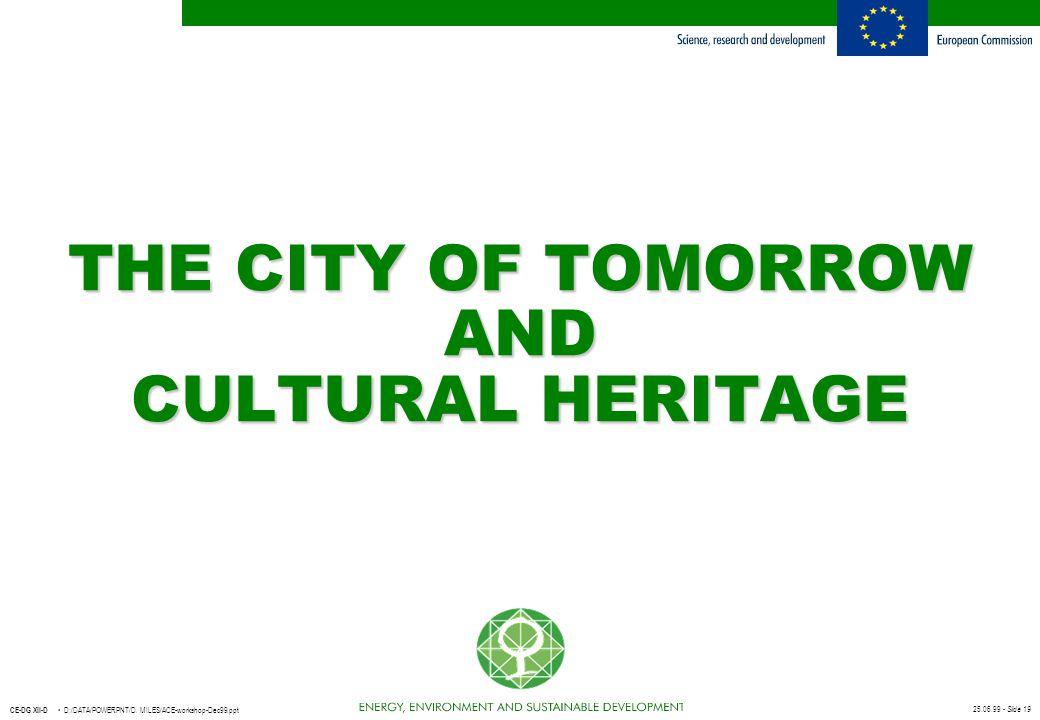 25.06.99 - Slide 19 CE-DG XII-D D:/DATA/POWERPNT/D. MILES/ACE-workshop-Dec99.ppt THE CITY OF TOMORROW AND CULTURAL HERITAGE