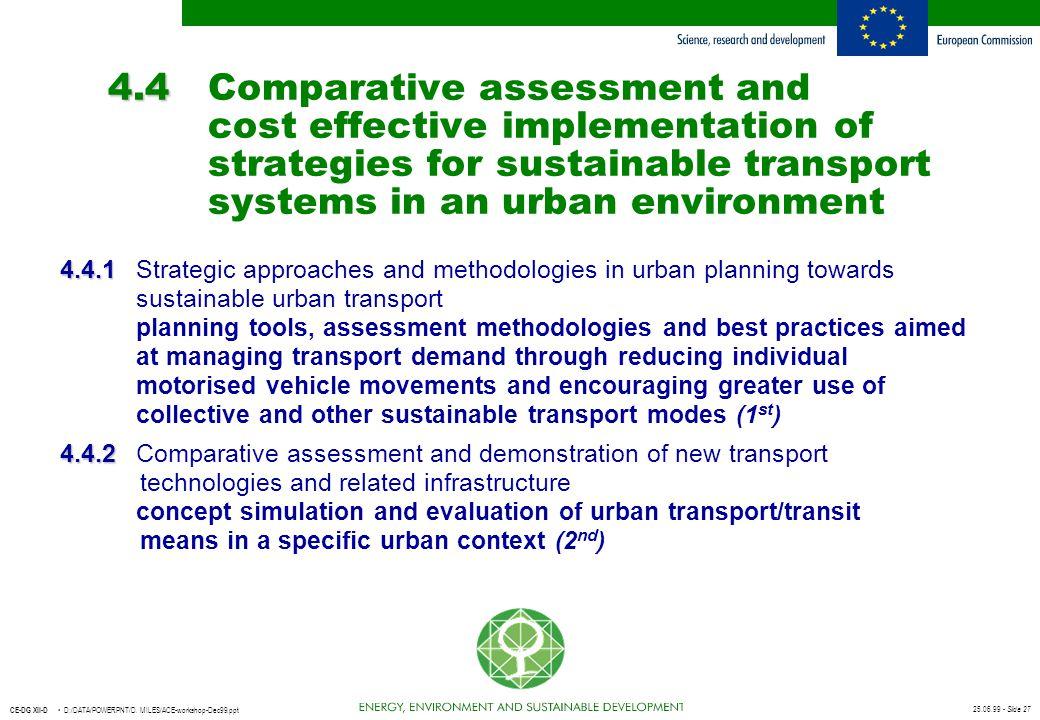 25.06.99 - Slide 27 CE-DG XII-D D:/DATA/POWERPNT/D. MILES/ACE-workshop-Dec99.ppt 4.4 4.4Comparative assessment and cost effective implementation of st