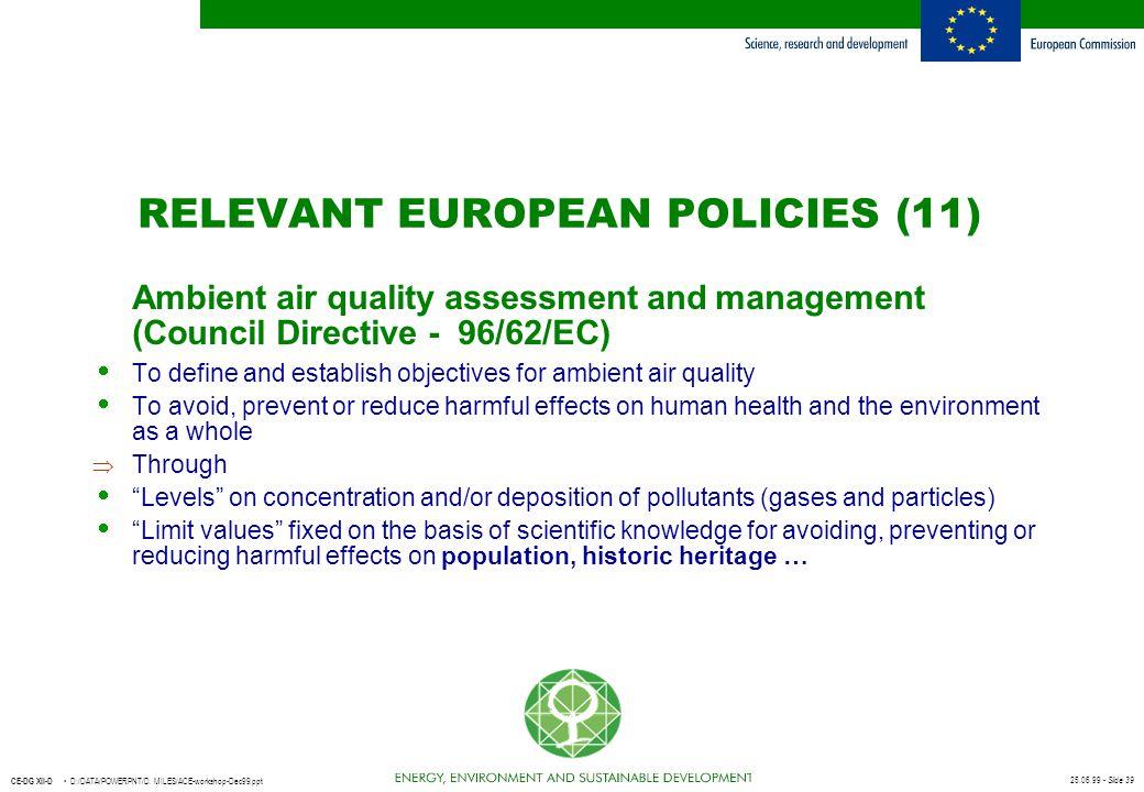 25.06.99 - Slide 39 CE-DG XII-D D:/DATA/POWERPNT/D. MILES/ACE-workshop-Dec99.ppt Ambient air quality assessment and management (Council Directive - 96