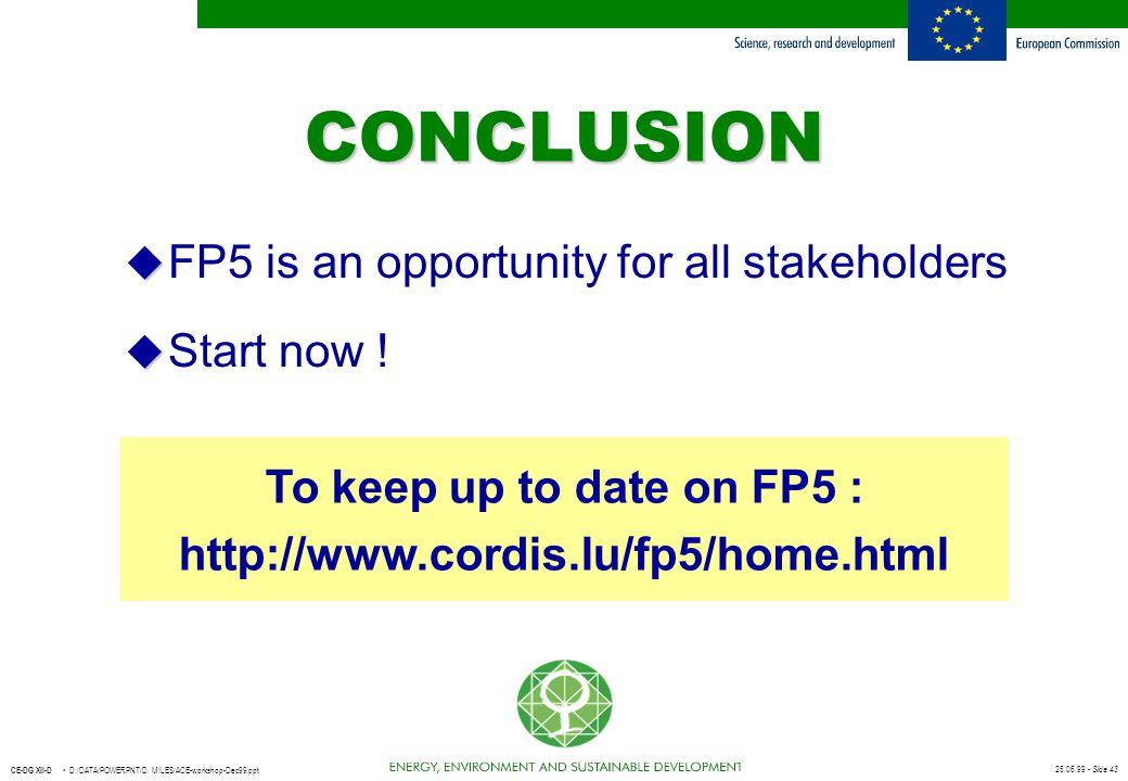 25.06.99 - Slide 43 CE-DG XII-D D:/DATA/POWERPNT/D. MILES/ACE-workshop-Dec99.ppt u u FP5 is an opportunity for all stakeholders u u Start now ! CONCLU