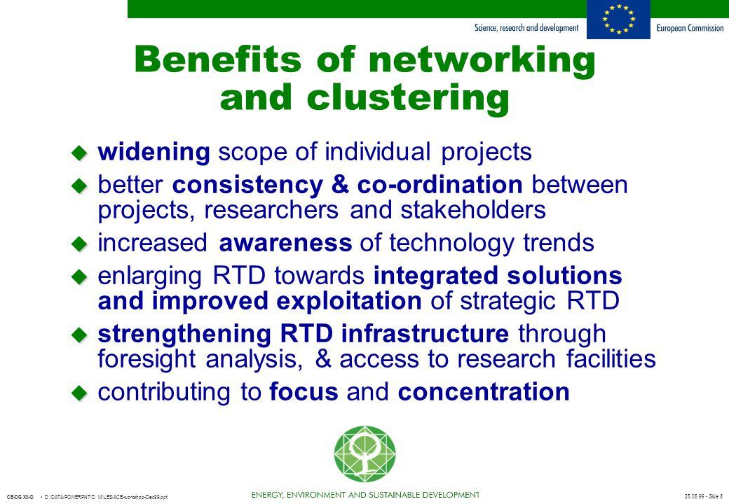 25.06.99 - Slide 6 CE-DG XII-D D:/DATA/POWERPNT/D. MILES/ACE-workshop-Dec99.ppt Benefits of networking and clustering u u widening scope of individual