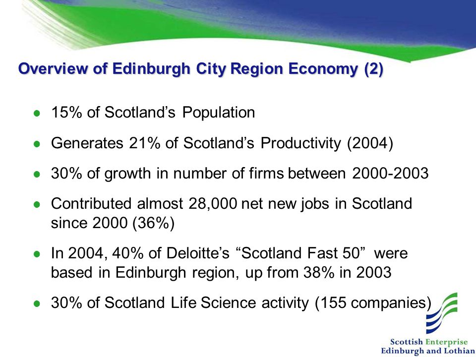 Overview of Edinburgh City Region Economy (2) 15% of Scotland's Population Generates 21% of Scotland's Productivity (2004) 30% of growth in number of firms between 2000-2003 Contributed almost 28,000 net new jobs in Scotland since 2000 (36%) In 2004, 40% of Deloitte's Scotland Fast 50 were based in Edinburgh region, up from 38% in 2003 30% of Scotland Life Science activity (155 companies)