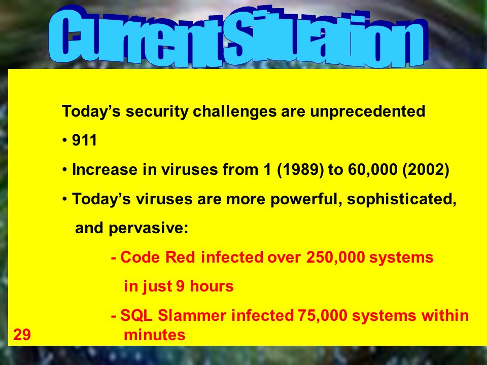 Today's security challenges are unprecedented 911 Increase in viruses from 1 (1989) to 60,000 (2002) Today's viruses are more powerful, sophisticated, and pervasive: - Code Red infected over 250,000 systems in just 9 hours - SQL Slammer infected 75,000 systems within 29 minutes