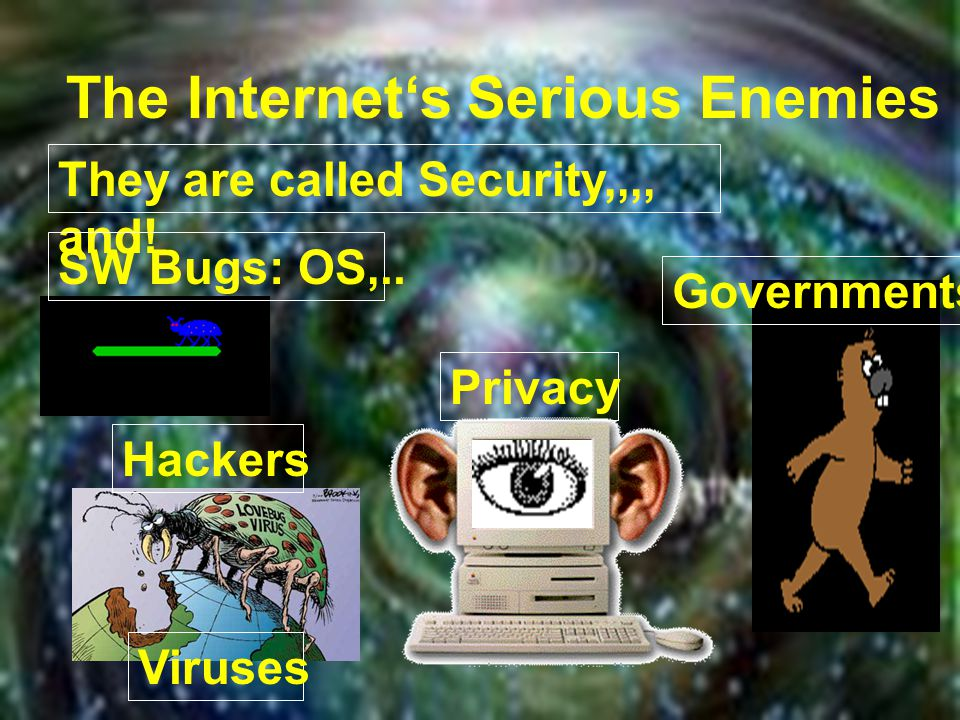 The Internet's Serious Enemies They are called Security,,,, and.