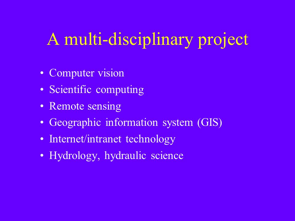 A multi-disciplinary project Computer vision Scientific computing Remote sensing Geographic information system (GIS) Internet/intranet technology Hydrology, hydraulic science