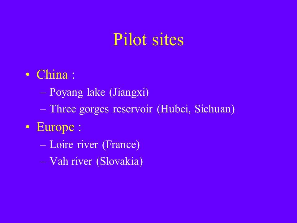 Pilot sites China : –Poyang lake (Jiangxi) –Three gorges reservoir (Hubei, Sichuan) Europe : –Loire river (France) –Vah river (Slovakia)