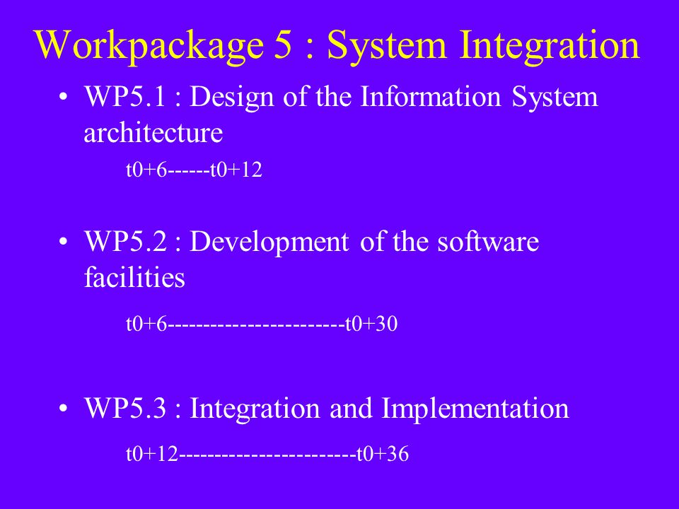 Workpackage 5 : System Integration WP5.1 : Design of the Information System architecture t0+6------t0+12 WP5.2 : Development of the software facilities t0+6------------------------t0+30 WP5.3 : Integration and Implementation t0+12------------------------t0+36