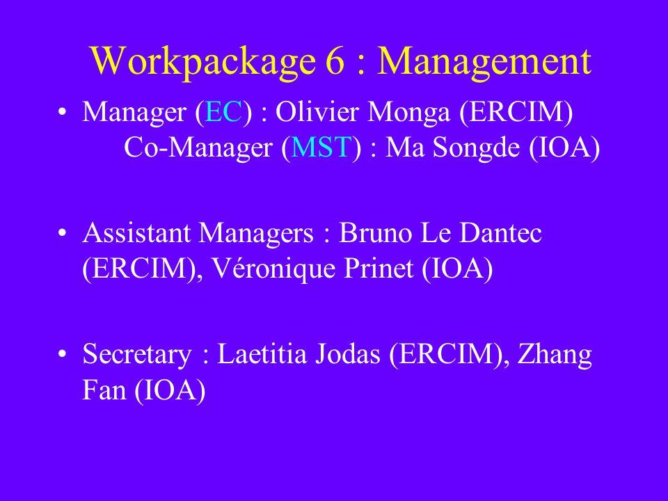 Workpackage 6 : Management Manager (EC) : Olivier Monga (ERCIM) Co-Manager (MST) : Ma Songde (IOA) Assistant Managers : Bruno Le Dantec (ERCIM), Véronique Prinet (IOA) Secretary : Laetitia Jodas (ERCIM), Zhang Fan (IOA)