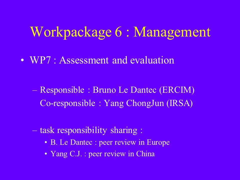 Workpackage 6 : Management WP7 : Assessment and evaluation –Responsible : Bruno Le Dantec (ERCIM) Co-responsible : Yang ChongJun (IRSA) –task responsibility sharing : B.