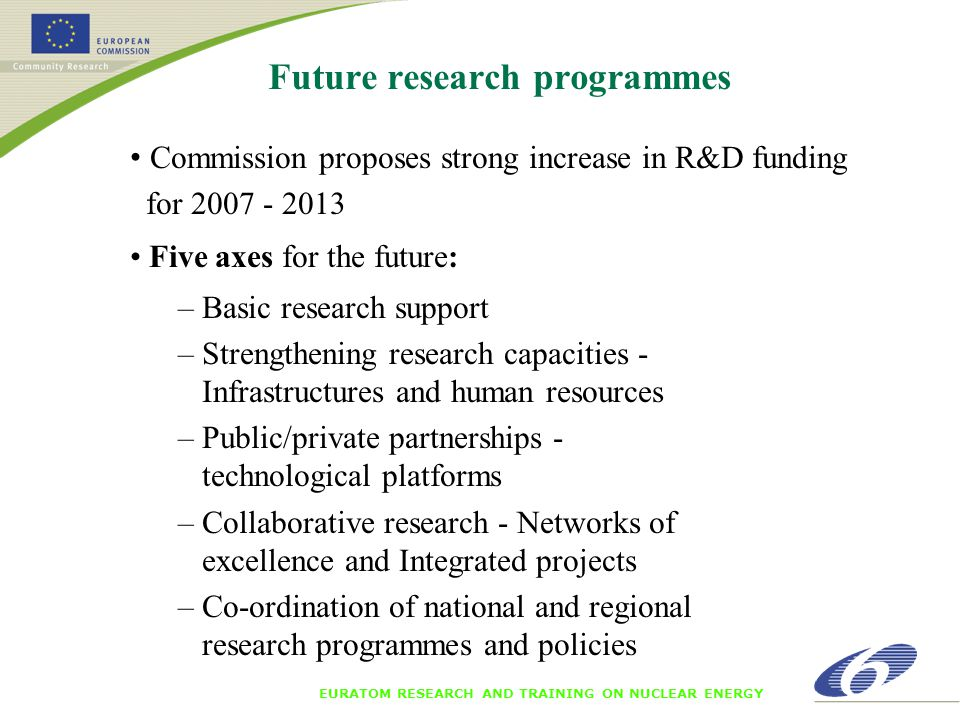 EURATOM RESEARCH AND TRAINING ON NUCLEAR ENERGY Future research programmes Commission proposes strong increase in R&D funding for 2007 - 2013 Five axes for the future: – Basic research support – Strengthening research capacities - Infrastructures and human resources – Public/private partnerships - technological platforms – Collaborative research - Networks of excellence and Integrated projects – Co-ordination of national and regional research programmes and policies