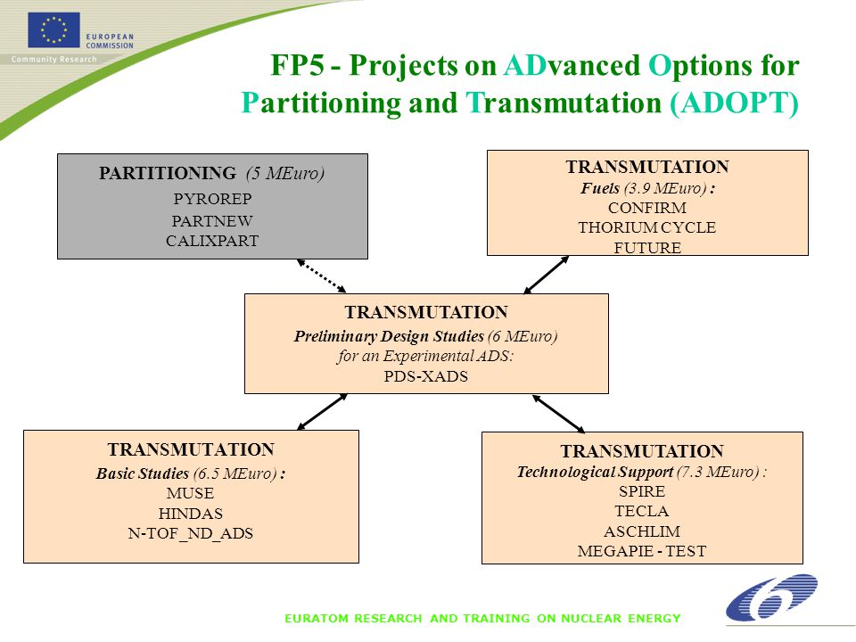 EURATOM RESEARCH AND TRAINING ON NUCLEAR ENERGY Waste management research in FP6 Increased funding by 50 % from FP5 Strives for even stronger collaboration First deadline in 2003 very encouraging – 3 IP and 1 NoE averaging 7 M€ in Community funding – 2 STREP Second deadline in April Expressions of interest for 2005