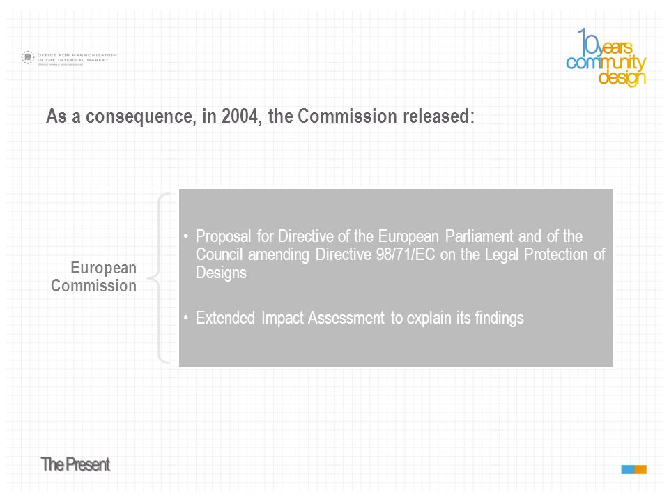 As a consequence, in 2004, the Commission released: European Commission Proposal for Directive of the European Parliament and of the Council amending Directive 98/71/EC on the Legal Protection of Designs Extended Impact Assessment to explain its findings