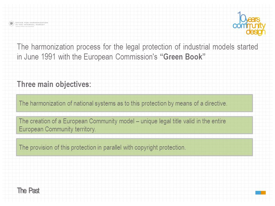 Legal protection of designs finally became a reality with the Directive 98/71/EC.