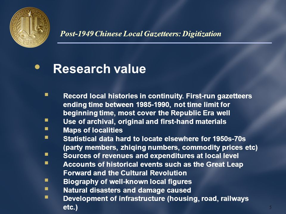 Research value  Record local histories in continuity.
