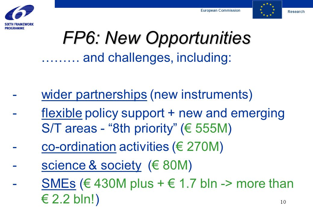 European Commission Research 10 FP6: New Opportunities ……… and challenges, including: -wider partnerships (new instruments) -flexible policy support +