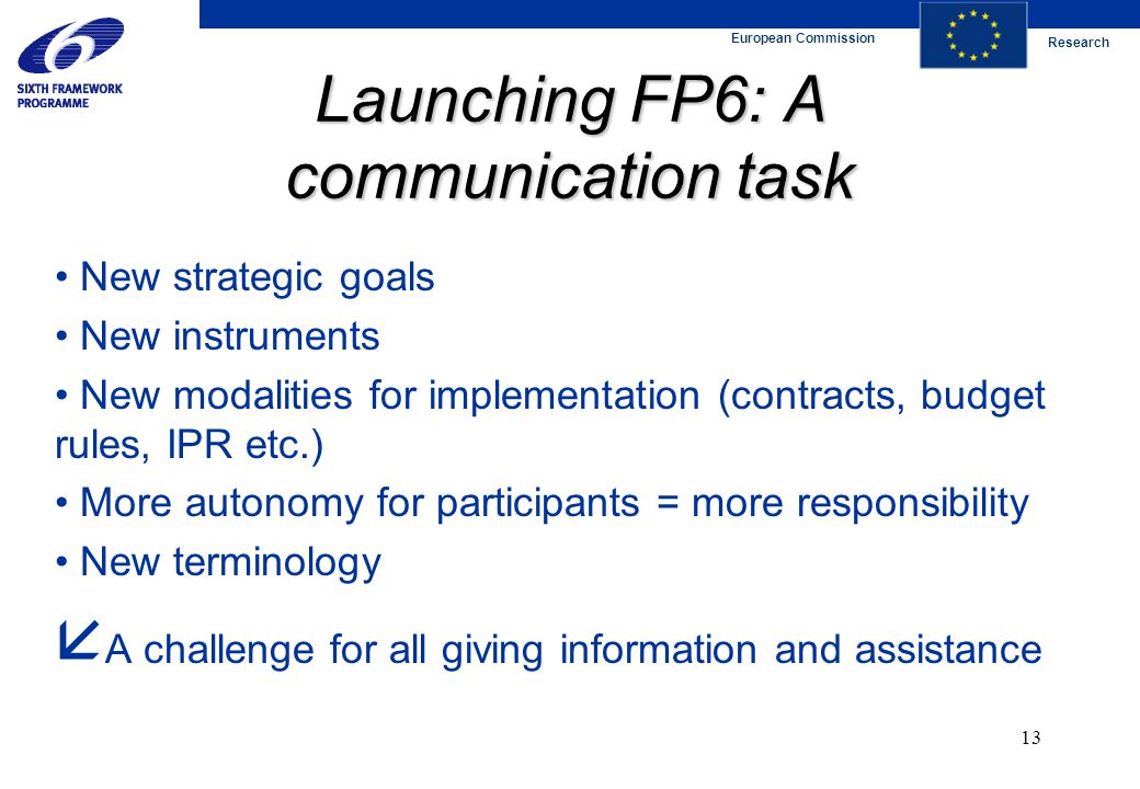 European Commission Research 13 Launching FP6: A communication task New strategic goals New instruments New modalities for implementation (contracts, budget rules, IPR etc.) More autonomy for participants = more responsibility New terminology  A challenge for all giving information and assistance