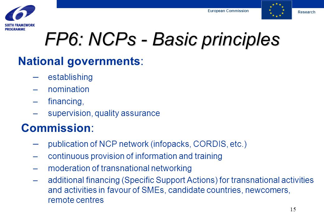 European Commission Research 15 FP6: NCPs - Basic principles National governments: – establishing – nomination – financing, – supervision, quality assurance Commission: – publication of NCP network (infopacks, CORDIS, etc.) – continuous provision of information and training – moderation of transnational networking – additional financing (Specific Support Actions) for transnational activities and activities in favour of SMEs, candidate countries, newcomers, remote centres